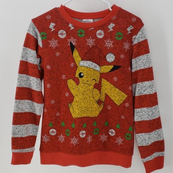 Pokemon Christmas Sweater.Pokemon Pikachu Christmas Sweater Size L